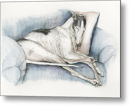 Pet Metal Print featuring the painting Sleeping Greyhound by Charlotte Yealey