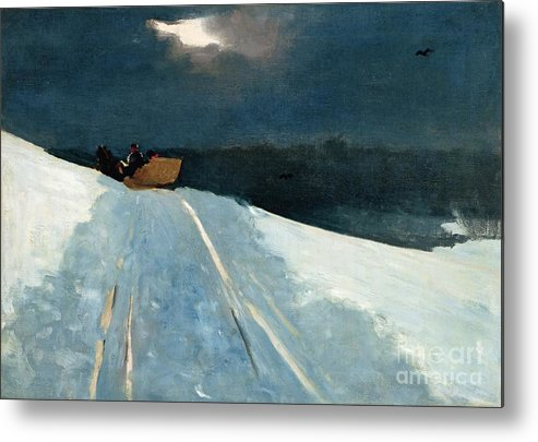 Winter Scene; Wintry; Snow; Snow-covered Landscape; Rural; Remote; Night; Darkness; Tracks; Path; Track; Moonlight; Sledge; Nocturne; Sleigh Ride Metal Print featuring the painting Sleigh Ride by Winslow Homer