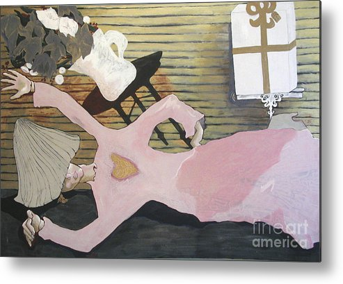 Girl Metal Print featuring the painting So Close by Sarah Goodbread