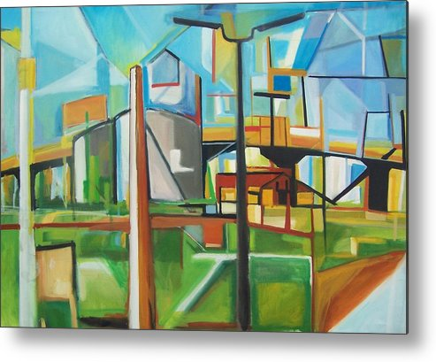 Landscape Metal Print featuring the painting South Hackensack by Ron Erickson