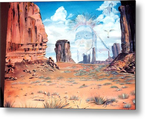 Native American Metal Print featuring the painting Spirit In The Wind by Joan Gossett