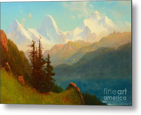 Albert Bierstadt (1830-1902) Splendor Of The Grand Tetons � Wyoming Territory Metal Print featuring the painting Splendor Of The Grand Tetons - Wyoming Territory by Celestial Images