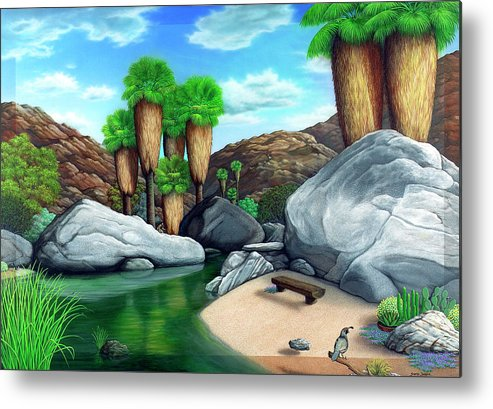 Landscape Metal Print featuring the painting Springtime In The Canyons by Snake Jagger