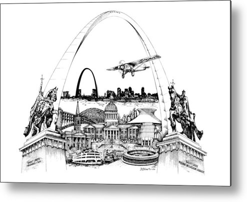 City Drawing Metal Print featuring the drawing St. Louis Highlights Version 1 by Dennis Bivens