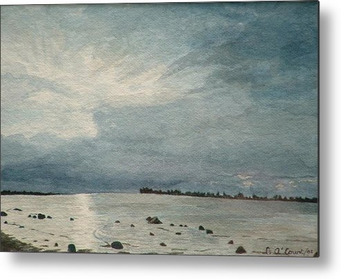 Landscape Metal Print featuring the painting Steel Morning In Rock Garden by Lynn ACourt
