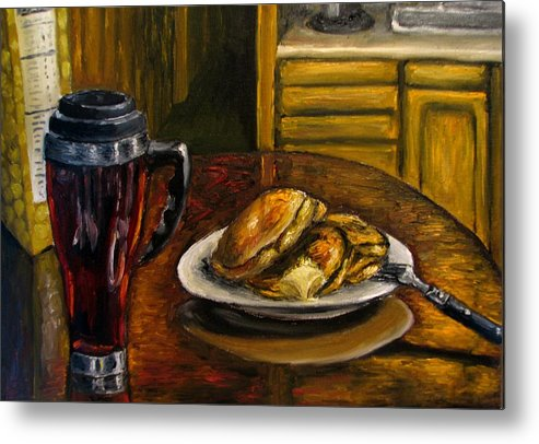 Still Life Painting Metal Print featuring the painting Still Life Pancakes And Coffee Painting by Natalja Picugina