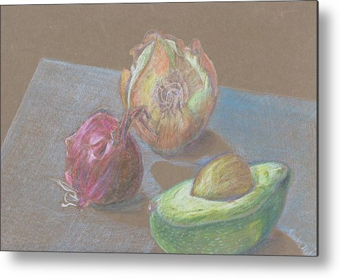 Still Life Metal Print featuring the drawing Still Life With Avacado by Kathy Mitchell