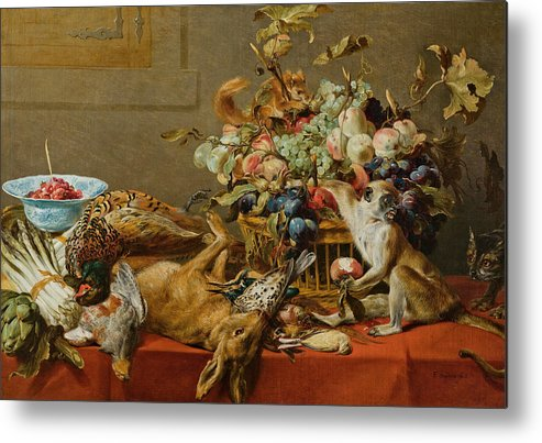 Still Life With Fruit, Dead Game, Vegetables, A Live Monkey, Squirrel And  Cat Metal Print