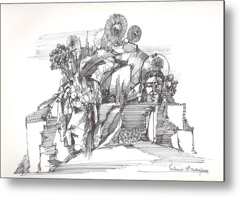 Rocks Metal Print featuring the drawing Stoned Faces And Dried Flowers by Padamvir Singh