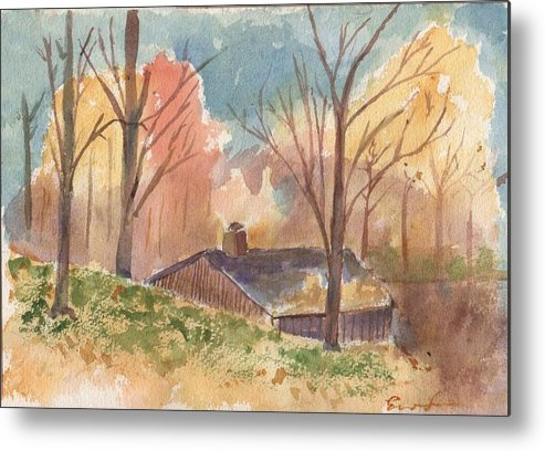 Landscape Metal Print featuring the painting Sugar House by Everett Kimball