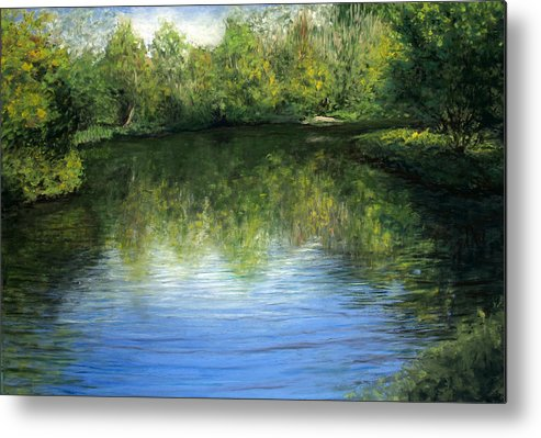 Landscape Metal Print featuring the painting Summer River by Susan Jenkins