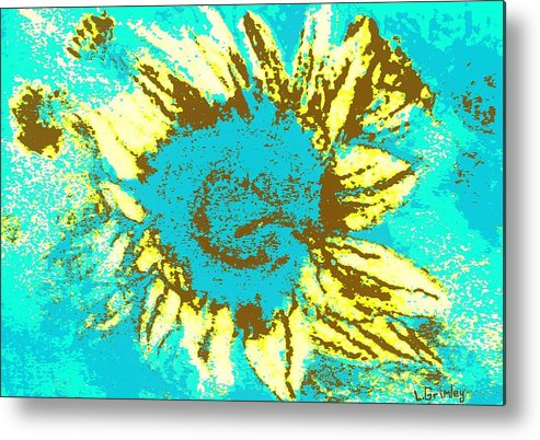 Flower Metal Print featuring the mixed media Sunflower by Lessandra Grimley