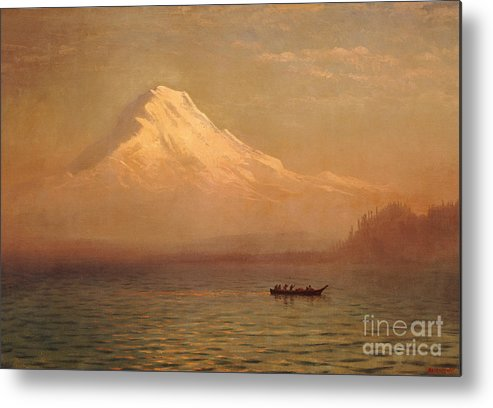 American; Landscape; Mount Rainier; Mt; Washington State; Mowich Lake; Volcano; Mountain; West; Western; Northwest; Wilderness; Boat; Dawn; Snowcapped; Snow-capped Metal Print featuring the painting Sunrise On Mount Tacoma by Albert Bierstadt