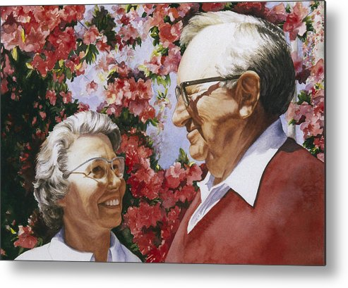 Watercolor Metal Print featuring the painting Sweethearts by Nancy Ethiel