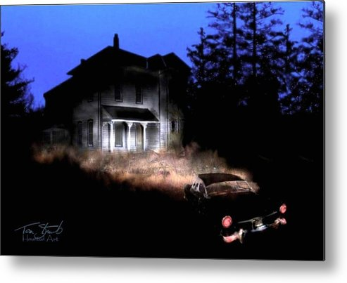 Haunted House Metal Print featuring the digital art Tail Lights by Tom Straub