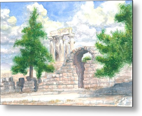 Grecian Temple Ruins Metal Print featuring the painting Temple Of Apollo - Corinth by Dan Bozich