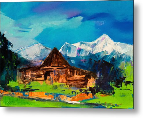 Barn Metal Print featuring the painting Teton Barn by Elise Palmigiani
