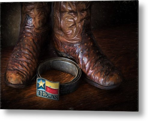 Belt Metal Print featuring the photograph Texas Boots And Belt Buckle by David and Carol Kelly