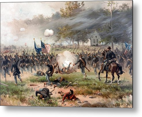 Civil War Metal Print featuring the painting The Battle Of Antietam by War Is Hell Store
