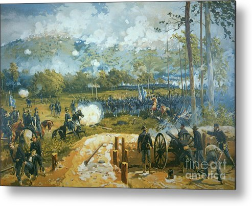 The Battle Of Kenesaw Mountain Metal Print featuring the painting The Battle Of Kenesaw Mountain by American School