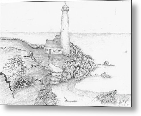 Realistic Drawing Metal Print featuring the drawing The Beacon by Dan Theisen