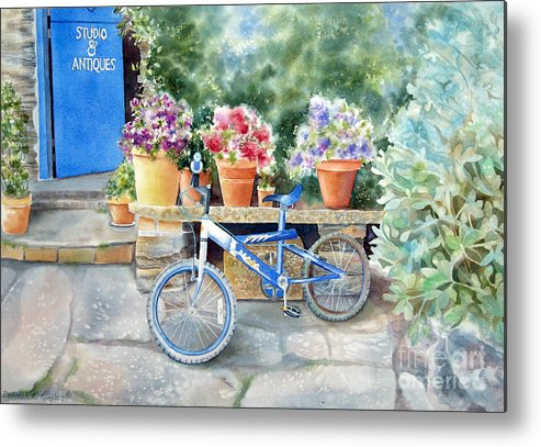 Blue Bicycle Metal Print featuring the painting The Blue Bicycle by Deborah Ronglien