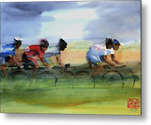 Le Tour De France Metal Print featuring the painting The Breakaway by Shirley Peters