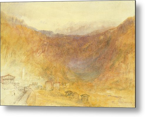The Metal Print featuring the painting The Brunig Pass From Meiringen by Joseph Mallord William Turner