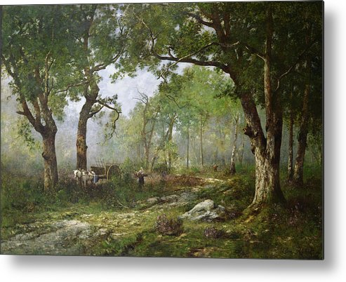 The Forest Of Fontainebleau Metal Print featuring the painting The Forest Of Fontainebleau by Leon Richet