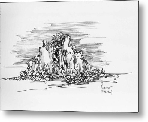 Hill Metal Print featuring the drawing The Hill by Padamvir Singh