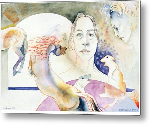 Surreal Metal Print featuring the painting The Horses Ass Painting by Eileen Hale