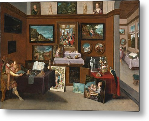 Frans Francken The Younger Metal Print featuring the painting The Interior Of A Picture Gallery With Connoisseurs Admiring Paintings by Frans Francken the Younger