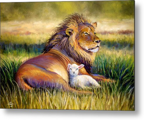 Lion And The Lamb Metal Print featuring the pastel The Kingdom Of Heaven by Susan Jenkins