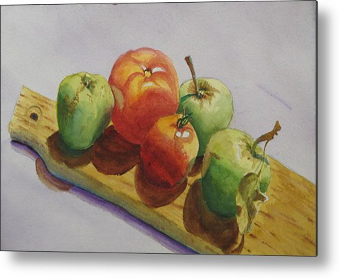 Fruit Metal Print featuring the painting Three Apples Two Tomatoes by Libby Cagle