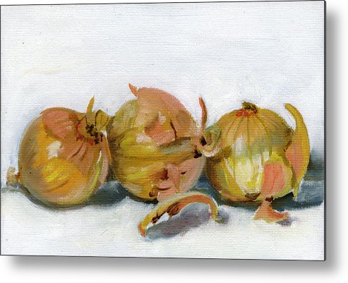 Food Metal Print featuring the painting Three Onions by Sarah Lynch