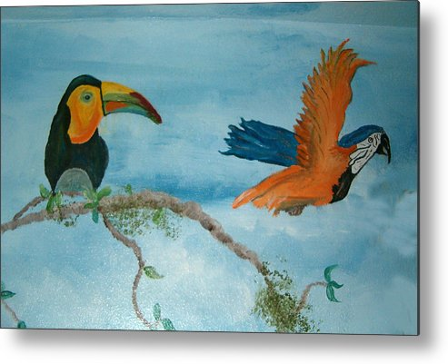 Tropical Birds Metal Print featuring the painting Tropical Birds by Mikki Alhart