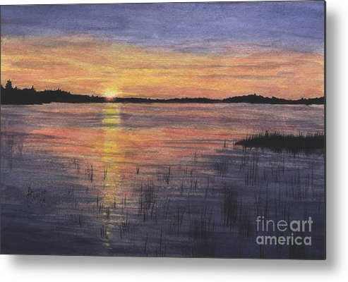 Landscape Metal Print featuring the painting Trout Lake Sunset II by Lynn Quinn