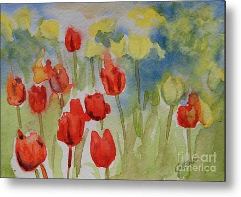 Tulips Metal Print featuring the painting Tulip Field by Gretchen Bjornson