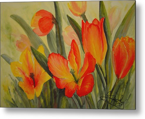 Spring Tulips Metal Print featuring the painting Tulips by Joanne Smoley