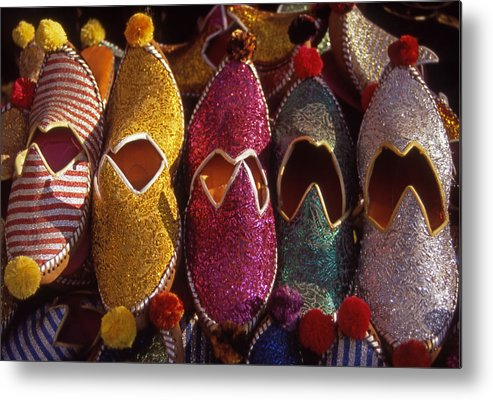 Colorful; Turkish; Slippers; Footwear; Turkey Metal Print featuring the photograph Turkish Slippers by Steve Outram