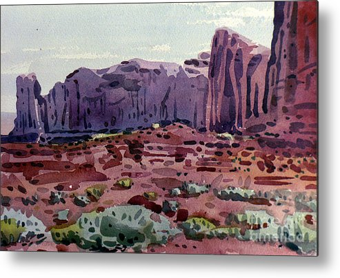 Two Elephants Butte Metal Print featuring the painting Two Elephants Butte by Donald Maier