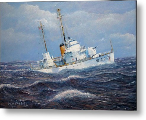 Marine Art Metal Print featuring the painting U. S. Coast Guard Cutter Sebago Takes A Roll by William H RaVell III