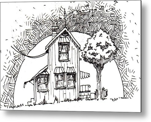 House Metal Print featuring the drawing Untitled by Tobey Anderson
