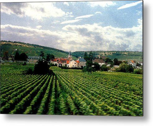 Vineyards Metal Print featuring the photograph Village In The Vineyards Of France by Nancy Mueller
