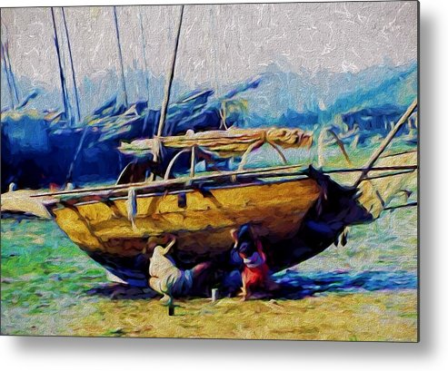 Sailboat Metal Print featuring the digital art Washed Up by Cathy Anderson