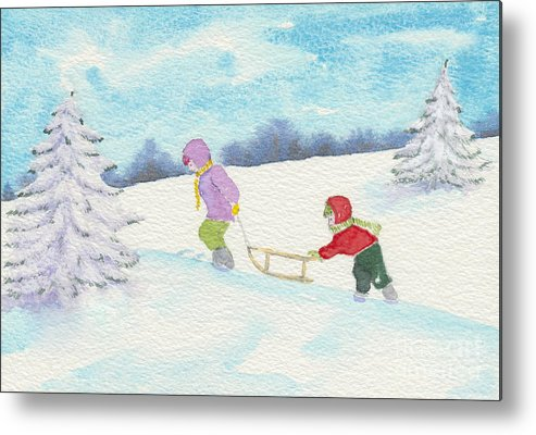 Christmas Metal Print featuring the painting Watercolor Illustration Showing Two Children Pulling Sledge Uphi by Ewa Hearfield