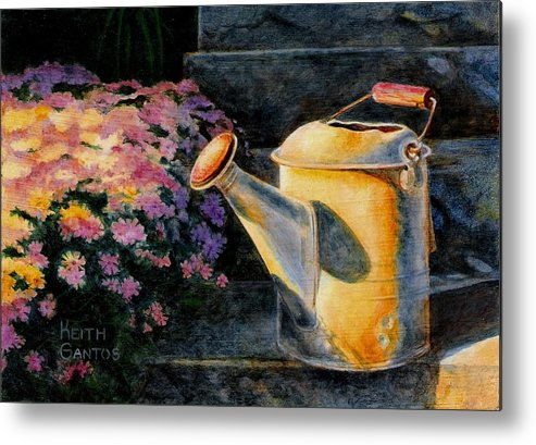 Watering Can Metal Print featuring the painting Watering Time by Keith Gantos