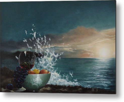 Seascape Metal Print featuring the painting Wave by Tjerk Reijinga