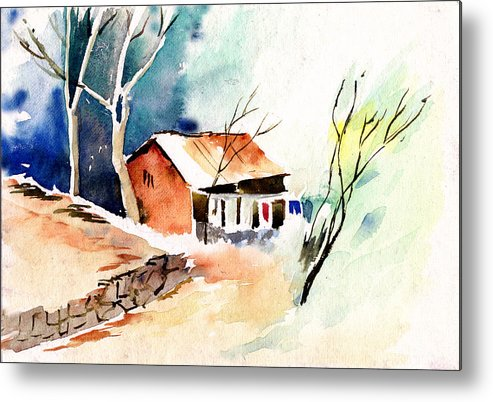 Nature Metal Print featuring the painting Weekend House by Anil Nene