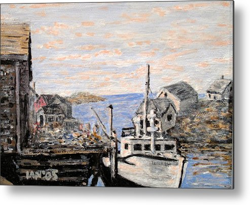White Metal Print featuring the painting White Boat In Peggys Cove Nova Scotia by Ian MacDonald